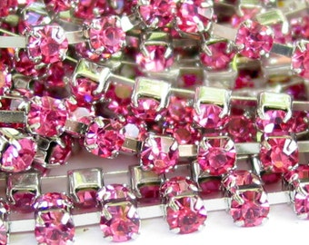3 feet dark Pink Rose 3mm 12SS Rhinestone silver color RHODIUM plated brass chain trim - middle east stone - 36 inches