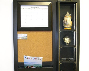 adjustable shelf message center with cell phone holder and 8x10 calendar frame