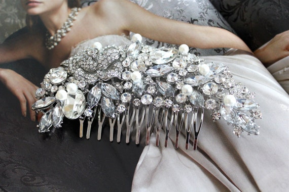 Large Pearl Bridal Hair Comb, Wedding Headpiece, Rhinestone Wedding Hair Comb, Wedding Combs, Hair Accessories, Wedding Accessories