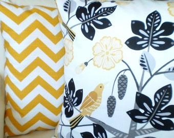 Yellow Chevron Pillows, Decorative Throw Pillows, Cushion Covers, Corn Yellow Black Gray on White with Bird  - Combo Set 16 x 16
