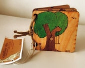 Natural Wood Baby Childrens Book Eco Wood Toy Nature Theme Art for kids heirloom OOAK
