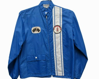 Vintage Racing Stripe Jacket Mens 1960s Blue Nylon Oldsmobile Patch Zip Jacket Mns Size Medium