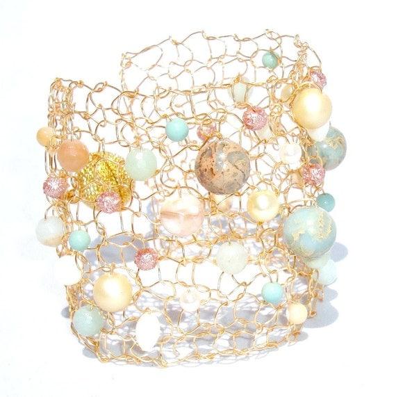 Amazonite Bracelet Pastel Bracelet Gold Cuff Bracelet Arm Cuff Delicate Bracelet Gemstone Bracelet Statement Bracelet Beaded Bracelets