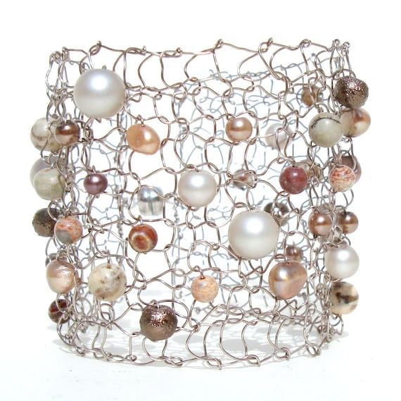 Modern Pearl Bracelet / Statement Jewelry / Wire Knit Jewelry / Natural Stone Beaded Wide Cuff Bracelet / Peach Sepia Oyster / Arm Cuff