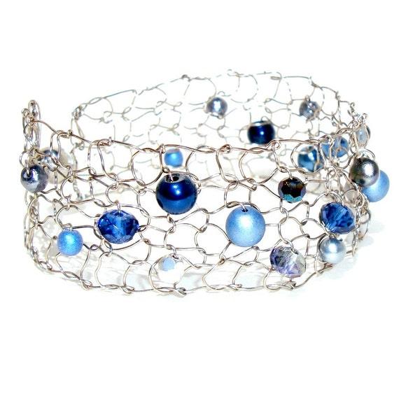 Delicate Bracelet Navy Blue Bridesmaid Bracelet Nautical Wedding Jewelry Beaded Bracelets Skinny Cuff Bracelet Custom Jewelry Gift For Her