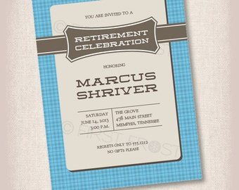 Masculine Patterned Printable Card Invitation -  Retirement, Birthday, Celebration