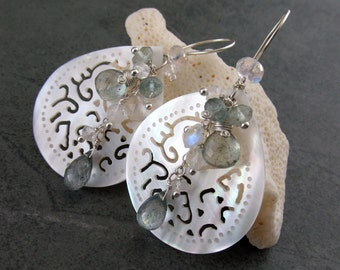 Carved mother of pearl shell earrings, handmade sterling silver, moss aquamarine and moonstone earrings-OOAK