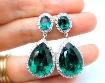 wedding jewelry bridal statement bridesmaid prom pageant earrings Clear teardrop AAA cubic zirconia emerald green rhinestone on oval cz post