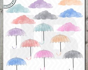Watercolour Cloud clipart, Watercolour Umbrellas clipart, umbrella clipart, Instant Download