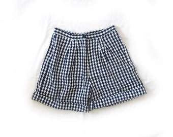vintage 1980s shorts high waisted checkered navy blue white summer size small s medium m