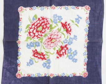 vintage 40s-50s Flower Print hankerchief Handkerchief Retro Hankie