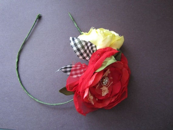 Strawberry and Lemon Rose Spring Flowers Headband Wedding Party Dance hand dyed flowers