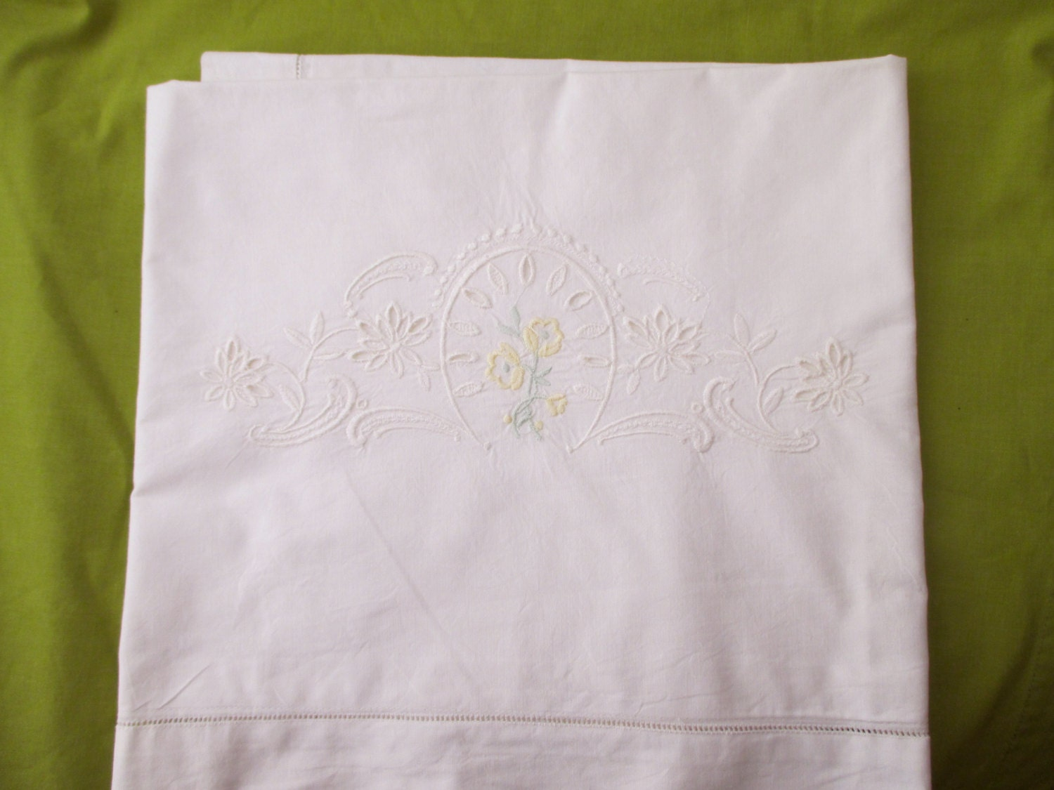 Vintage Shabby Chic Pillow Shams : Large Shabby Chic cotton PILLOW SHAM white by JunqueDuJour