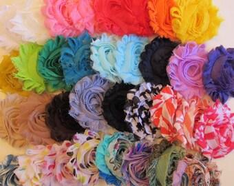 "Set of 6 Chiffon Flower Headband Shabby Chic Frayed Fabric Rose, 1/8"" Skinny Elastic Headband, Newborn Headband"