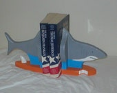Shark Bookends with Surfboard