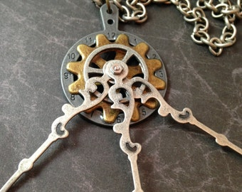 Gears and Clock Hands Steampunk Necklace