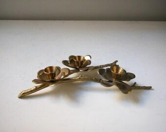 Vintage Brass Flower Candle Holder