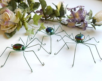 Iridescent Black Spiders Three Medium Handmade Spiders Perfect Gift for Nature and Bug Lovers, Unique Bug Ornaments for Window Sill,
