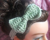 Mint Green Headband, Bow Headband, Bowtie Headband, Tie on Headband, Green Bow Headband, Girls Headband, Adult Headband, Adjustable Headband