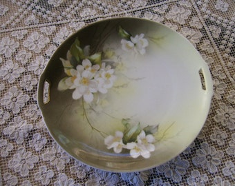 Vintage R and S Germany Hand Painted Floral Handled Display Plate
