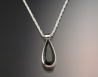 Green Tourmaline Necklace deep blue green pear shaped pendant Necklace