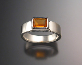 Mexican Fire Opal ring sterling silver rectangular bezel set stone size 7
