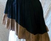 Wenchling Hi Lo High Low Pirate Skirt Asymmetric  Cotton Ruffled Wench Steampunk Mori Girl