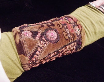 Cuff Brown Gold Black Velvet Indian Embroidered Peace Cuff Boho Hippie Gypsy Fabric Bracelet
