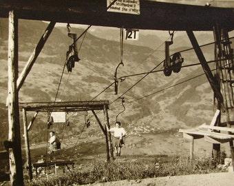 Vintage Summer Photo - On the Ski Lifts at Berggasthof Grabs, Austria