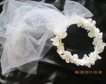 Hydrangea hair wreath with veil - wedding veil - flower girl veil - first communion hair wreath with veil