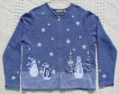 Ugly Christmas Sweater with Adorable Appliqued and Embroidered Snowmen and Snowflakes