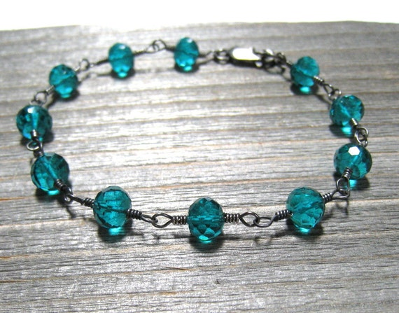 Teal Bracelet, Paraiba Quartz, Blue Green Stone, Sterling Silver, Handmade Wire Wrapped Bracelet