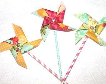 Fabric Pinwheels in Pink, Yellow, Aqua