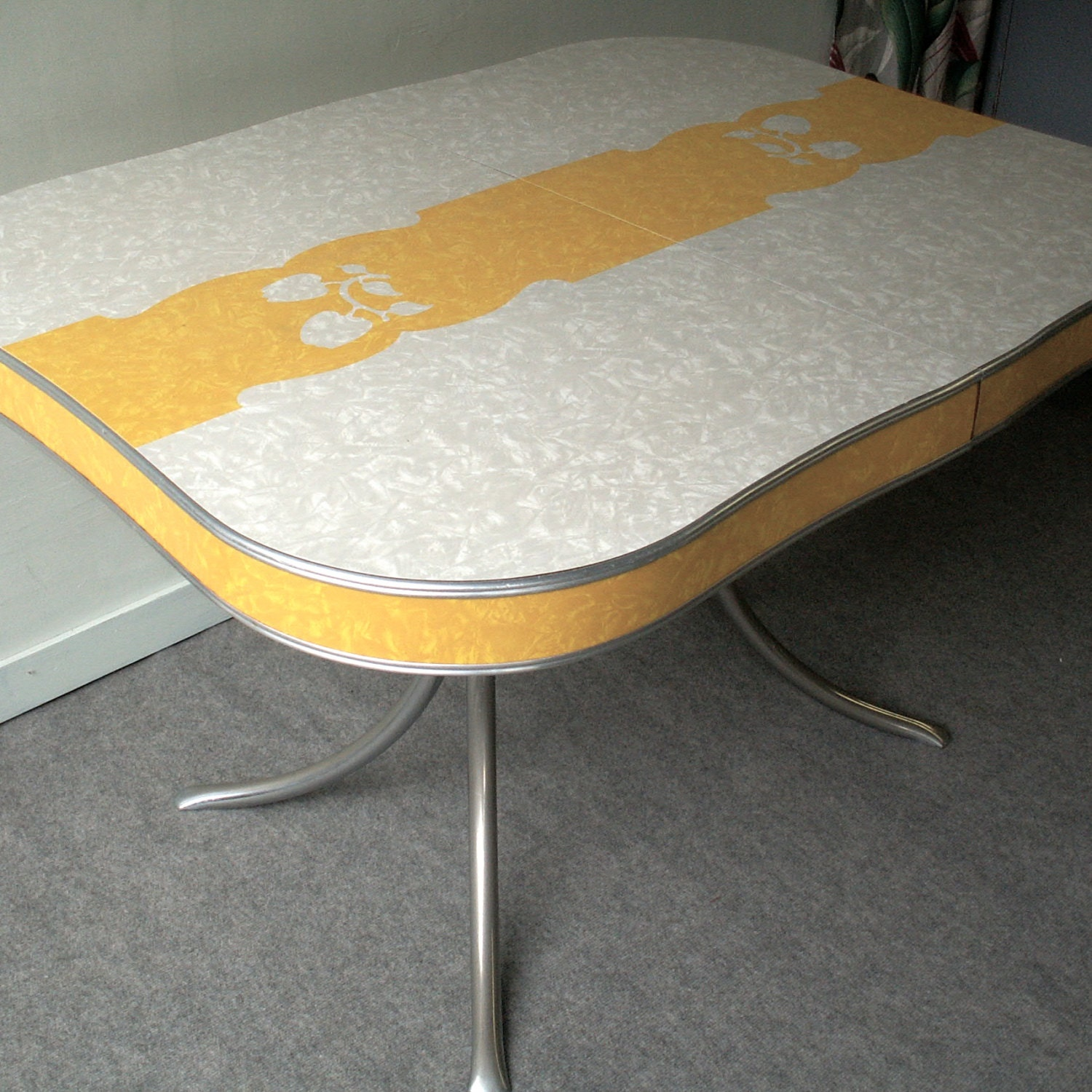vintage grey and yellow formica and chrome table. Black Bedroom Furniture Sets. Home Design Ideas