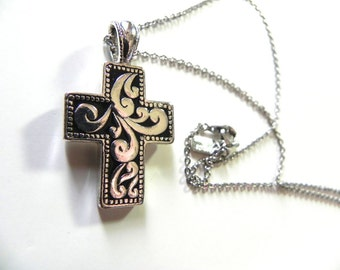 Vintage Silver scroll Cross Necklace Pendant - on sale