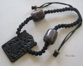 Hand Knotted Black Jade Necklace, Gemstone Jewelry