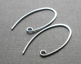 Two Pair, Oval Sterling Silver Ear wires 28mm, Ear Hooks, Handmade Silver Findings