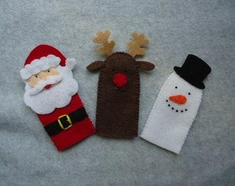 Christmas Finger Puppets, Includes Santa Claus, Rudolph the Reindeer and Frosty the Snowman