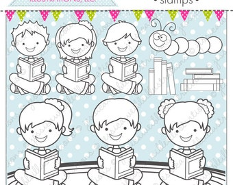 Reading Time Cute Digital Stamps, Reading Line Art, Reading Digital Stamp, School Kids Line Art, School Stamps