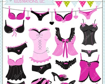Oh La La Lingerie Pink Cute Digital Clipart for Card Design, Scrapbooking, and Web Design