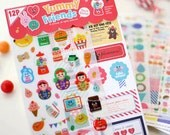 Cute Yummy Friends Deco Stickers - 12 sheets (3.5 x 7.5in)