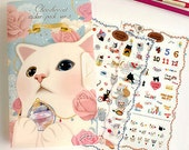 Choo Choo Cat Stickers in File Case Ver.3 / Diary Deco - 8 sheets (4.7 x 7.9in)