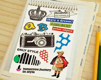 Vintage Canvas Fabric Stickers Ver. B1 (4.2 x 6.1in)