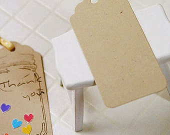 50 Round Gift Tags - Natural Beige (1.8 x 3.8in)