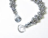 silver pearl bracelet . spiral . swarovski pearl . silver . glacier gray. grey . bridesmaid . mother of the bride .