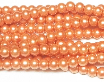 6mm Coral Glass Pearls 1 strand of glass pearls