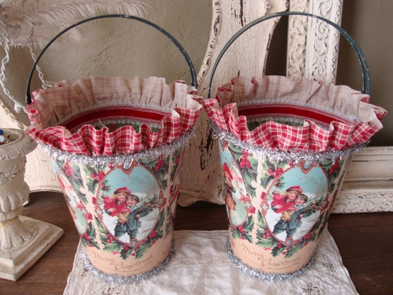Christmas gift buckets large metal victorian by paperandmache