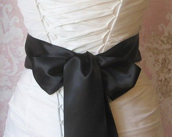 Double Face Black Satin Ribbon, 3 Inch Wide, Ribbon Sash, Black Bridal Sash, Wedding Belt, 4 Yards