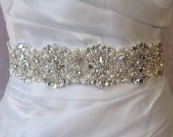 """Crystal Rhinestone & Pearl Bridal Sash, Wedding Belt, Ivory Crystal Bridal Sash, 24"""" of Rhinestones - AMELIE"""