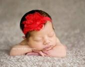 Infant Headband Red Newborn Thin Headband Flower Headband Shabby Chic Flower Headband  toddler Photo Prop/ Birthdays / Baby Shower
